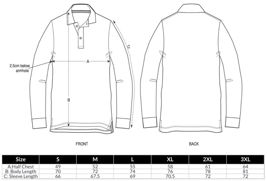 Unisex Long Sleeve Polo Shirt Size Guide