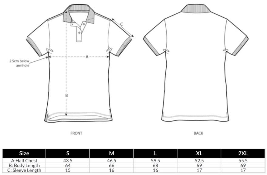 Women's Polo Shirt Size Guide