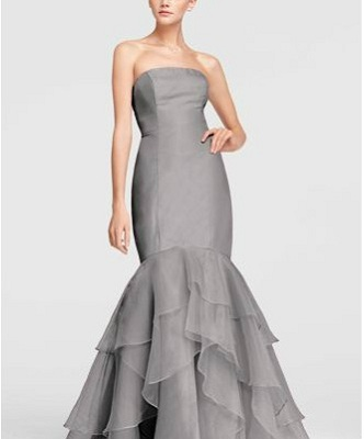 David s Bridal Strapless Crinkle Chiffon Dress with Mikado Sash David s Bridal Strapless Fit and Flare Organza Dress   179