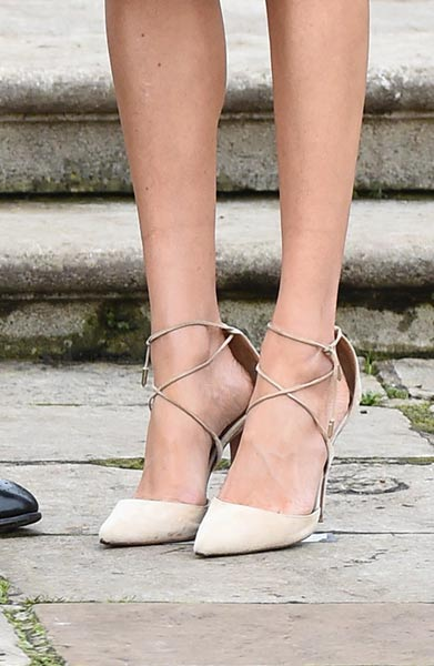 4ee88b5e51e Kate Middleton is famous for rocking her nude L.K. Bennett sledge pumps  literally everywhere. It looks like Meghan is taking her new role very ...