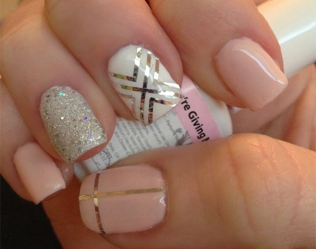 Cute Gelish And Gold Nail Designs For Brides 2017