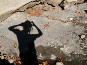 shadow of person scratching head