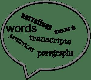 random words in a speech bubble