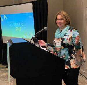 Sheila B. Robinson giving a presentation at Evaluation 2019