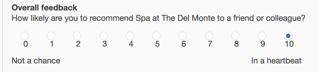 Net promoter survey question from a local spa