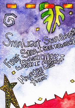Star Bright. Watercolor, & pen on 140 lb. cold press paper. © 2013 Sheila Delgado