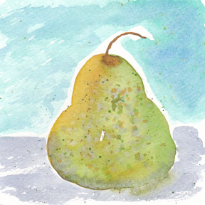 Day 30. Pear, 5 x 5 watercolor on 140 lb. cold press paper. © 2014 Sheila Delgado