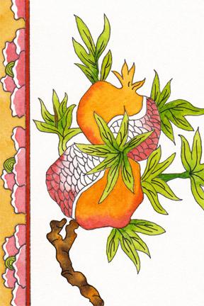 Chinese postcard. 4 x 6 watercolor, pen on 140 lb. cold press paper. © 2014 Sheila Delgado
