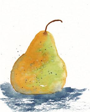 Pear Day 29. 4 x 5 watercolor on 140 lb. cold press paper. © Sheila Delgado