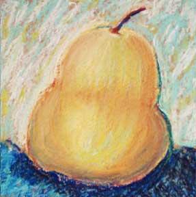 An end? Pear. 5 x 5 pastel,  © Sheila Delgado 2014