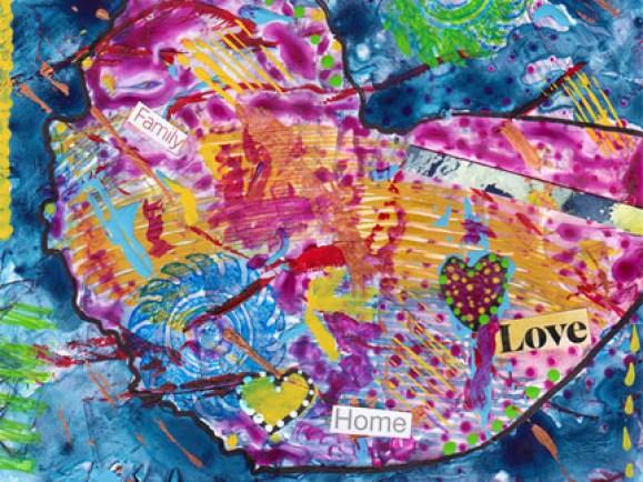 Heart. Mixed media on Yupo, 6 x 4.5. © 2014 Sheila Delgado
