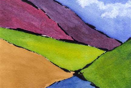 Incline 2. Watercolor and acrylic on 140 lb. Arches cold pressed paper. © 2014 Sheila Delgado