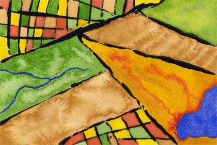 Map 2, watercolor and acrylic on 140 lb. Arches cold pressed paper. © 2014 Sheila Delgado