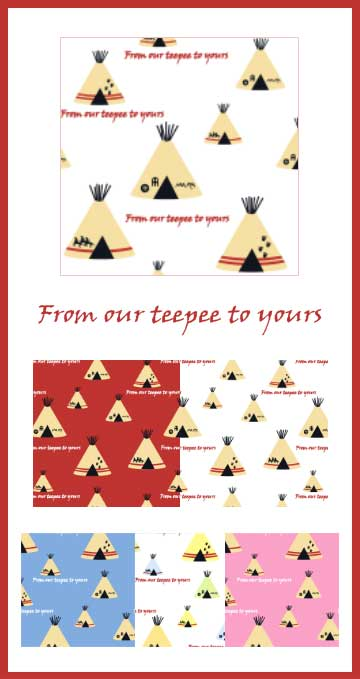 Teepee gift wrap, surface design, fabric, repeating pattern