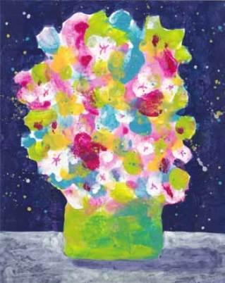 Green vase. 4 x 5 acrylic on paper. © 2015 Sheila Delgado
