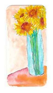 2 x 4 Ink and watercolor mini bookmark.  2015 Sheila Delgado