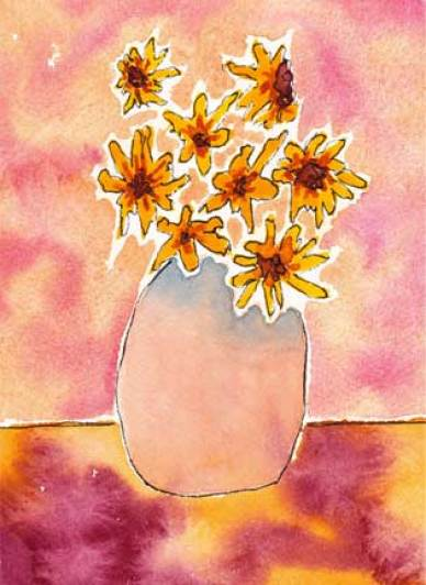 Sunflowers in a pink vase. 4.5 x 6 watercolor and ink on 140 lb. Arches cold pressed paper. © 2015 Sheila Delgado
