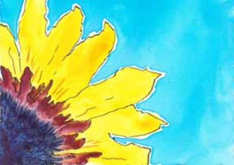 Sunflower. Watercolor and pen. 2016 INKed Calendar. © 2015 Sheila Delgado