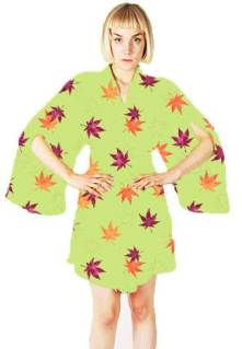 Kimono Mock-up. Kaede Ha (Maple Leaf). Watercolor leaves in shades of orange, red and Merlot on pale yellow green. © 2016 Sheila Delgado