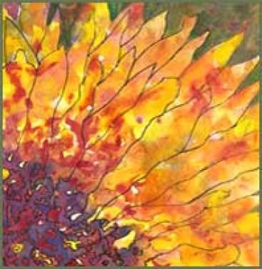 Sun Splatters, 5 x 5 watercolor and pen. © 2016 Sheila Delgado