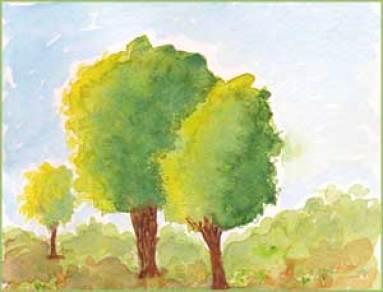 Trees. 5 x 7 watercolor. Sheila Delgado. sheiladelgado.com
