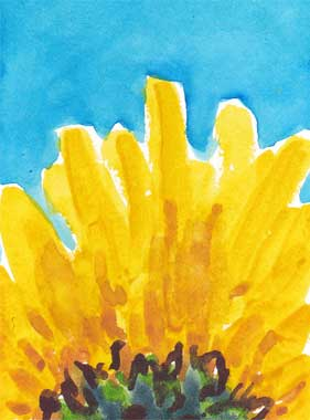Sunflower ATC. Watercolor. © 2016 Sheila Delgado