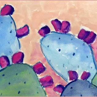 Cactus Quickie. 6 x 12 watercolor on Arches 140 lb. cold pressed paper. © 2016 Sheila Delgado