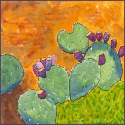 Chapel Cactus. 5 x 5 watercolor and gouache on Arches 140 lb. cold pressed paper. © 2016 Sheila Delgado