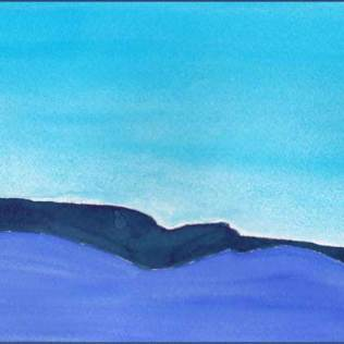 Hills in Blue. 5 x 11 watercolor on Arches 140 lb. cold pressed paper. © 2016 Sheila Delgado