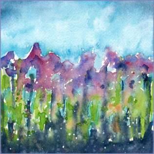 Purple Play. 6 x 6 watercolor on Arches 140 lb. cold pressed paper. © 2016 Sheila Delgado