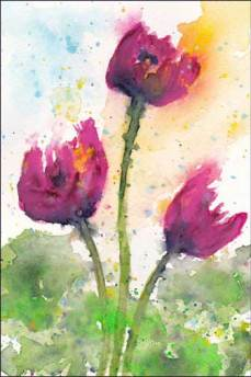 Tulips, maybe. 4 x 6 in. watercolor on paper. © 2016 Sheila Delgado