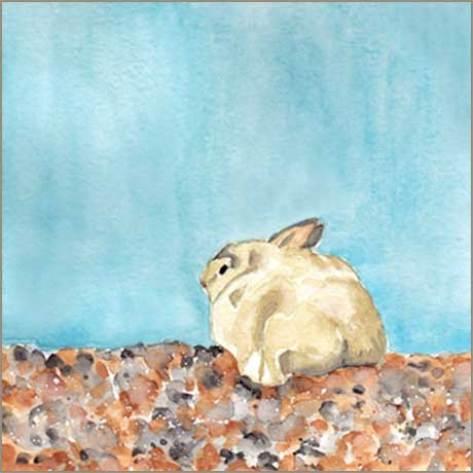 Cuddle Bunny. 5 x 5 in. watercolor on 140 lb. cold pressed paper. © 2016 Sheila Delgado