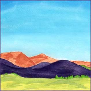 Hills 12-12-16. 6 x 6 in. watercolor on Arches 140 lb. cold pressed paper. © 2016 Sheila Delgado