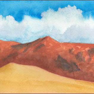 South Range, update. 4 x 8 in. watercolor on Arches 140 lb. cold pressed paper. © 2017 Sheila Delgado