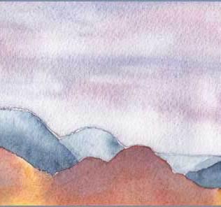Mingus in the Mist. 4 x 8 in. watercolor on Arches 140 lb. cold pressed paper. © 2017 Sheila Delgado