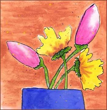 Wonky flowers. 6 x 6 watercolor on paper. © 2017 Sheila Delgado