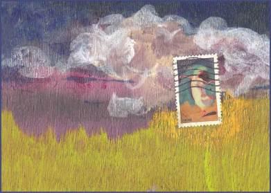 Christine Brooks LYA 2017 side swap. Painted on wood, with USA stamp.