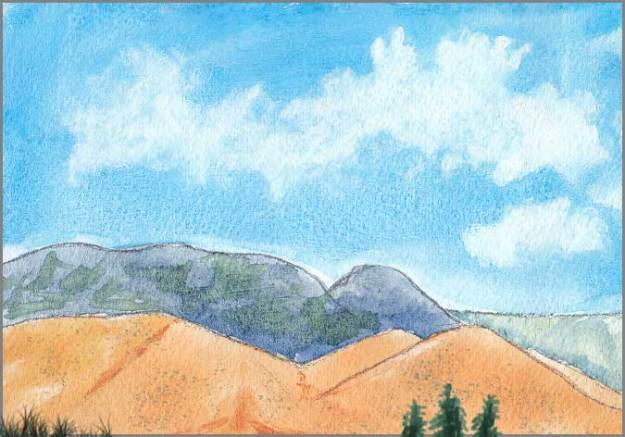 Hills. Watercolor on gessoed Arches 140 lb. paper. © 2017 Sheila Delgado