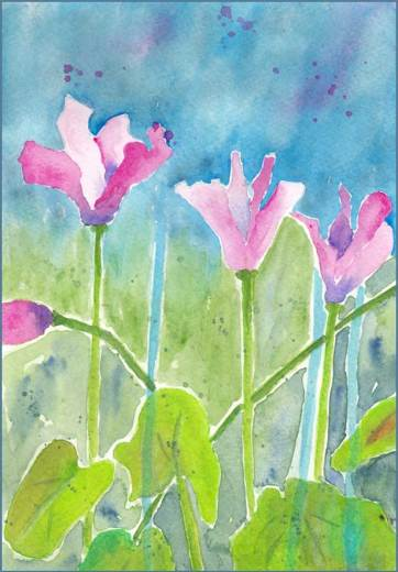 Cyclamen. 6.25 x 9 in. watercolor Arches 140 lb. cold pressed paper. © 2017 Sheila Delgado