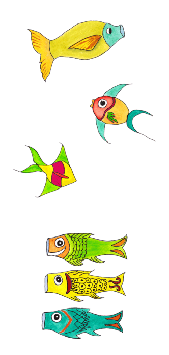 """Fish Kites"". Watercolor and pen on paper. 2010 Sheila Delgado"