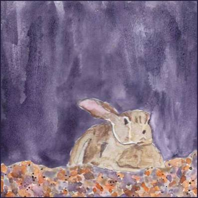One Ear. 6 x 6 Watercolor on gessoed paper. © 2017 Sheila Delgado