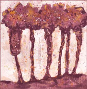 Trees revised. 6 x 6 mixed media on paper. © 2017 Sheila Delgado