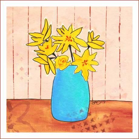 Day 4, Flowers for Aunt Della. 7 x 7 Acrylics on paper. © 2017 Sheila Delgado