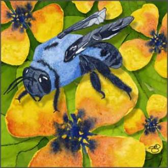 Carpenter Bee. Mixed media. © 2017 Sheila Delgado