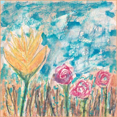 Turquoise Dream. 6 x 6 mixed media on paper. © 2017 Sheila Delgado