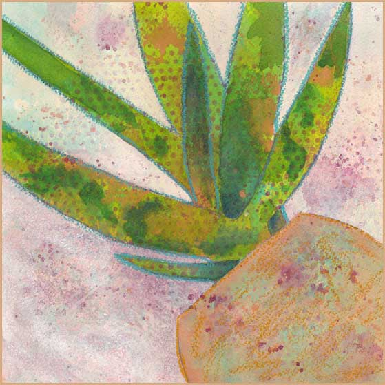 Day 26, Aloe, WIP. 8 x 8 Mixed media on Arches 140 lb. cold pressed paper. © 2018 Sheila Delgado.