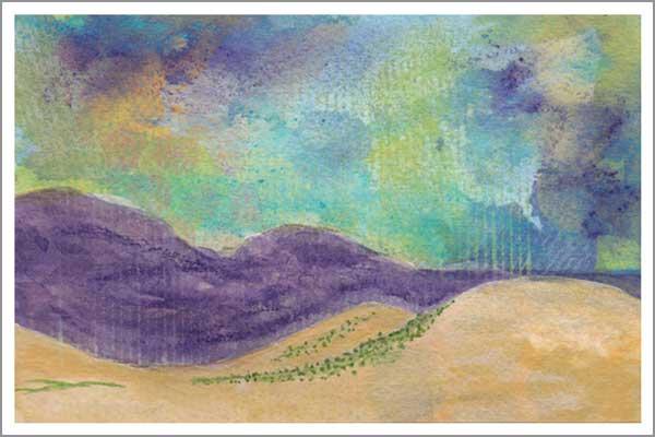 Mingus Day #17. 4 x 6 in. watercolor on Arches 140 lb. cold pressed paper. © 2018 Sheila Delgado.