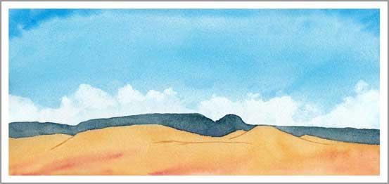 Mingus Day #22. 5.25 x 12 in. Watercolor on Arches 140 lb. cold pressed paper. © 2018 Sheila Delgado.
