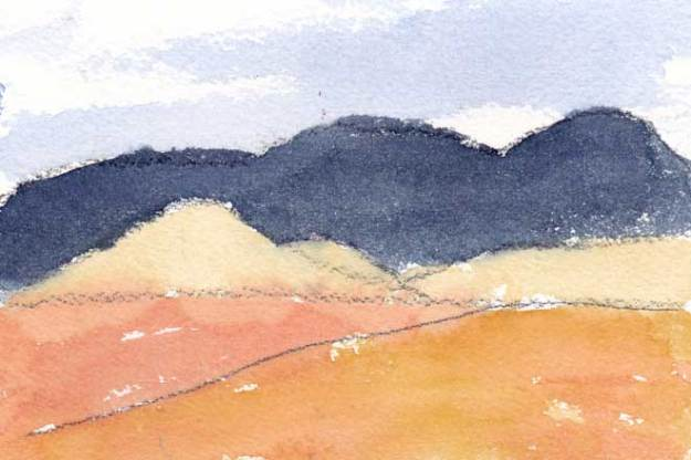 Mingus Day #28. 4 x 6 in. Watercolor on Arches 140 lb. cold pressed paper. © 2018 Sheila Delgado.