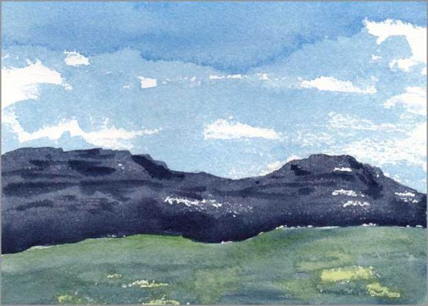 Mingus Day #38. 5 x 7 in. Watercolor on Arches 140 lb. cold pressed paper. © 2018 Sheila Delgado.